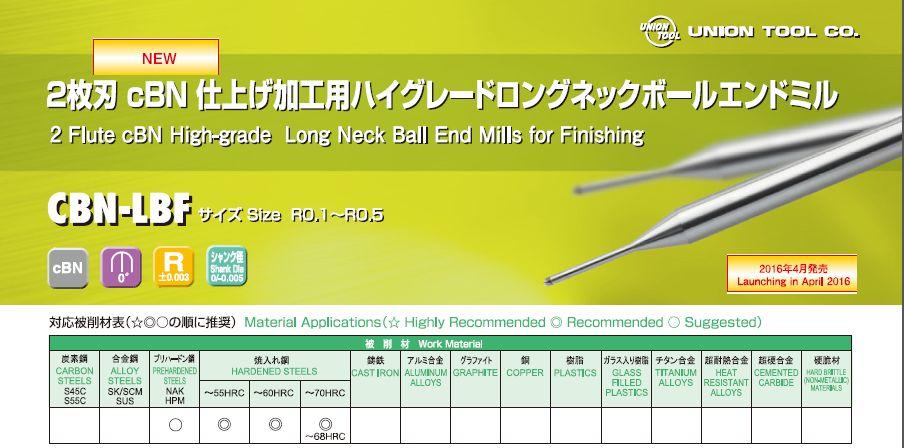 CBN 仕上げ加工用ハイグレード                   ロングネックエンドミボール